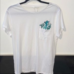 New H&M White Tee w/Cactus Embroidery on pocket